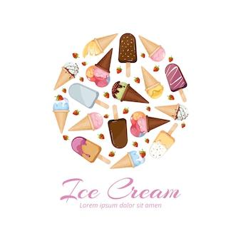 Ice cream icons logos set in circle