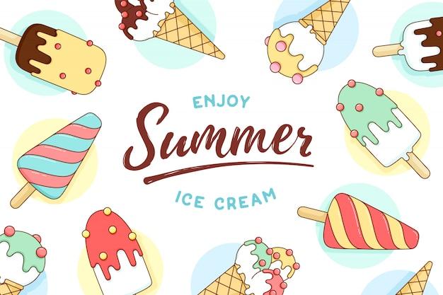 テキストとアイスクリームアイコンパターンを楽しむ夏