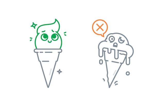 Иллюстрация мороженого в разных состояниях растопленное мороженое