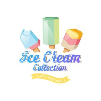 Ice cream illustration. ice cream sundae on background. ice cream set.