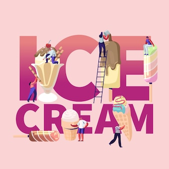 Ice cream illustration with people holding ice cream cones