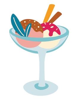Мороженое в миске. холодный свежий десерт с разными вкусами на двух вафельных трубочках. летние десерты. значок продукта на основе молока. векторные иллюстрации шаржа