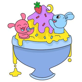 토끼 놀이, 벡터 일러스트레이션 예술로 가득 찬 큰 그릇에 아이스크림. 낙서 아이콘 이미지 귀엽다.