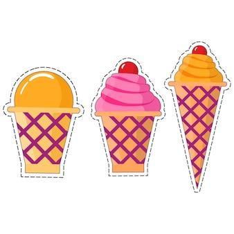 ワッフルカップのアイスクリーム