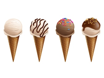 Ice cream in wafer cones 3d realistic illustration. Isolated soft ice scoops with chocolate
