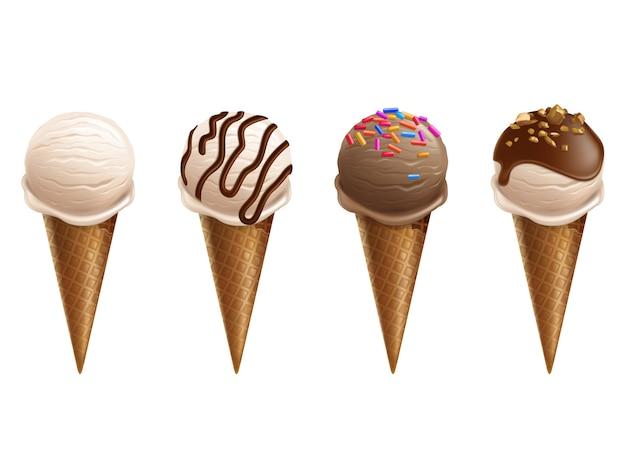 Мороженое в вафельных конусах 3d реалистичные иллюстрации. изолированные мягкие льдины с шоколадом