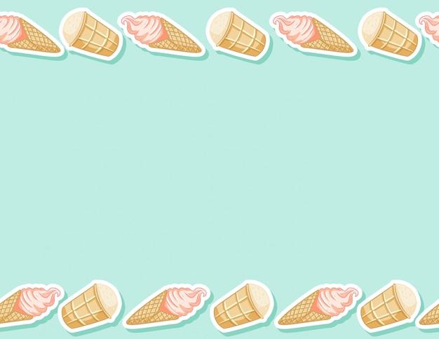 ワッフルコーンのシームレスなパターンのアイスクリーム。かわいい漫画スタイルの背景テクスチャタイル