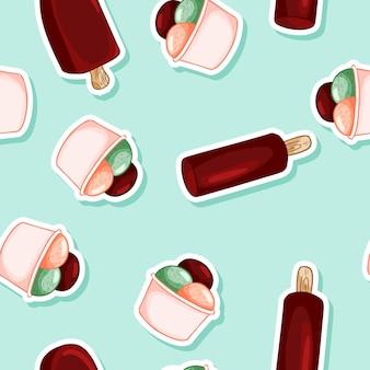 ワッフルコーンのシームレスパターンのアイスクリーム