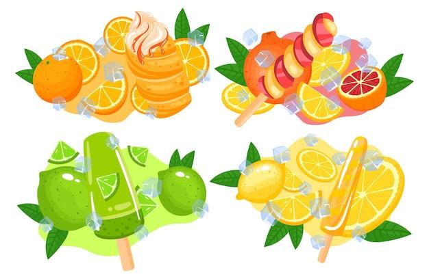 アイスクリームジュース甘いデザートいちごフルーツスティックスナック食品冷たい
