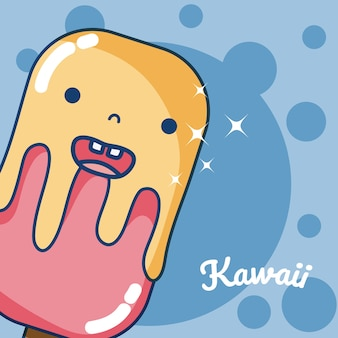 Ice cream kawaii cute cartoon