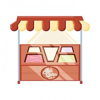 Ice cream kiosk and showcase