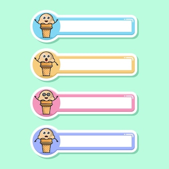 아이스크림 라벨 이름표 귀여운 캐릭터 마스코트