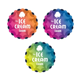 Ice cream logo badge set