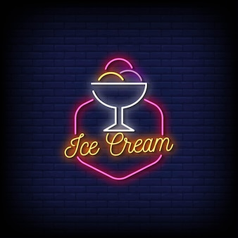 Ice cream logo neon signs style text