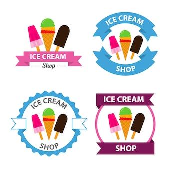 아이스크림 로고 벡터 세트