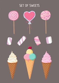 アイスクリーム、マシュマロ、ロリポップ。フラットスタイルのお菓子のセット。ベクトルで作られました。デザイン、ポスター、チラシ、看板
