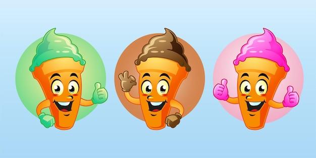 アイスクリームマスコット漫画かわいいデザイン