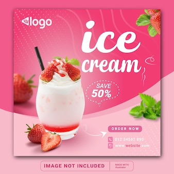 Ice cream menu promotion banner for social media instagram post banner template