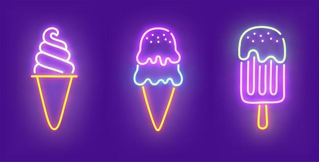Неоновый значок мороженого
