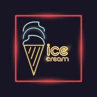 Значок неоновой подсветки мороженого