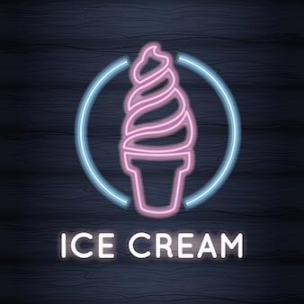 아이스크림 네온 불빛