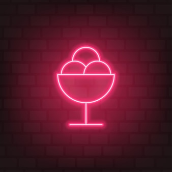 Ice cream neon sign pink street light vector