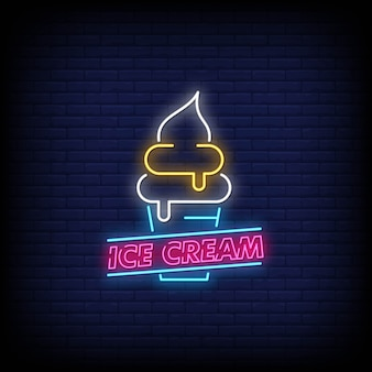 Ice cream neon signs style text