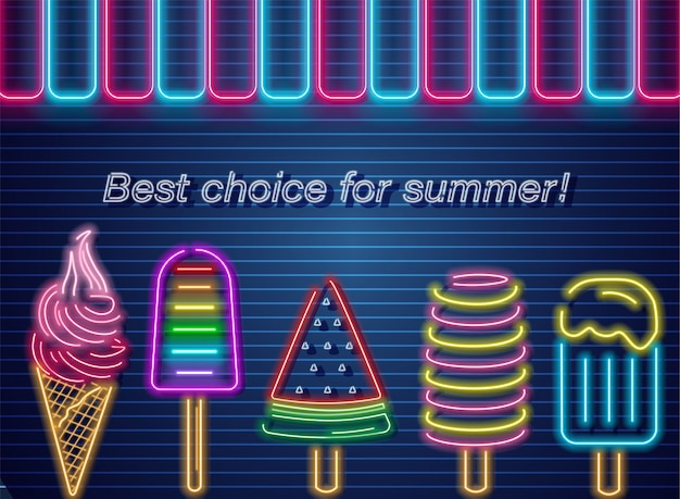 Мороженое неоновое летнее знамя