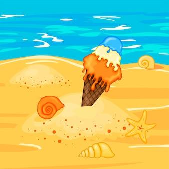 Мороженое на пляже у воды. летняя коллекция мультфильмов в векторе.
