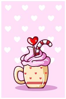 발렌타인 데이 사탕의 만화 일러스트와 함께 컵에 아이스크림