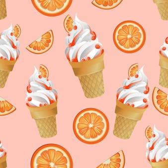 Ice cream orange seamless pattern