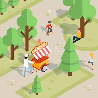 屋外のアイスクリーム。アイスクリームの売り手が公園をトロリーで転がします。子供と食べ物、陽気で散歩とデザート。