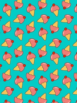 Ice cream pattern on blue background