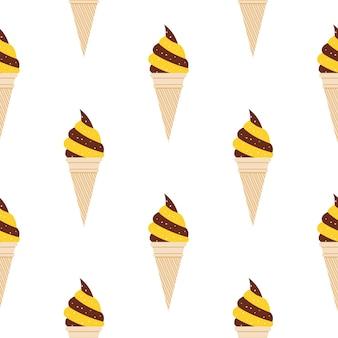 アイスクリームのパターン、カラフルな夏の背景。エレガントで豪華なスタイルのイラスト