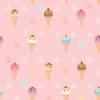 Ice cream pattern pink