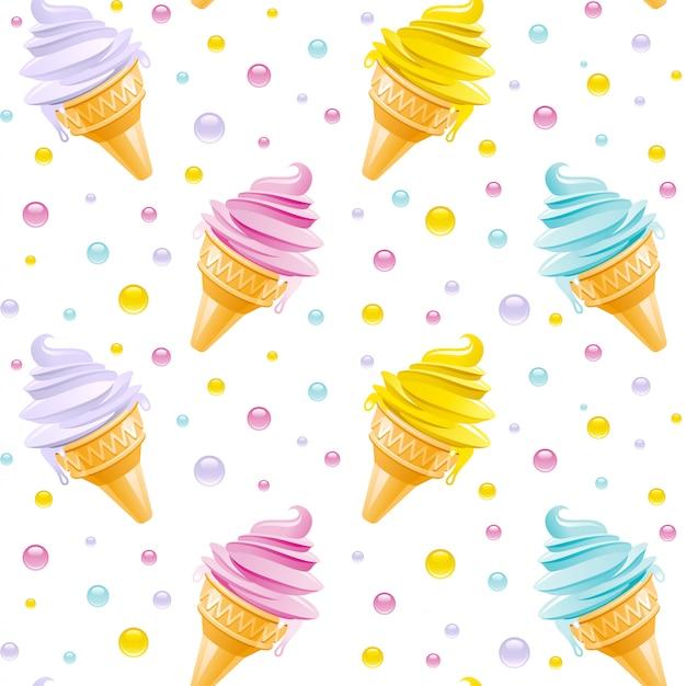 アイスクリームのパターン。シームレスなアイスクリームコーンの背景。かわいい夏のイラスト。アイスクリームの質感を持つ漫画アート。テキスタイルや紙のデザインを印刷します。
