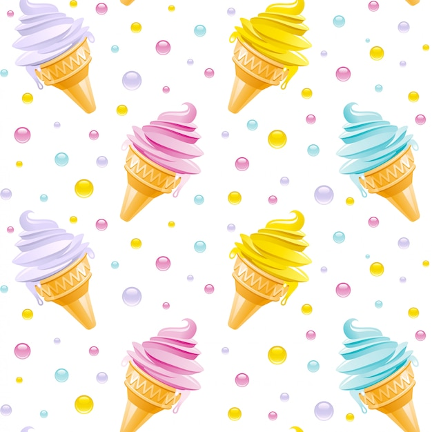 Ice cream pattern. seamless ice cream cone background. cute summer illustration. cartoon art with icecream texture. print textile or paper design.