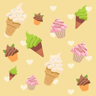 Ice cream pattern set
