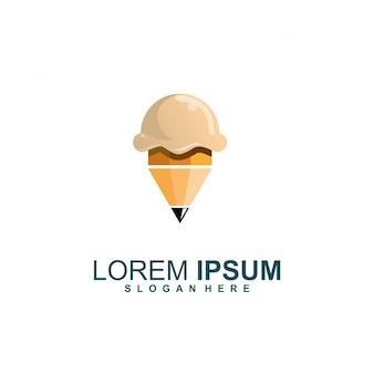 Ice cream pencil creative logo
