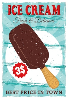 Ice cream popsicle on stick colored poster in vintage style
