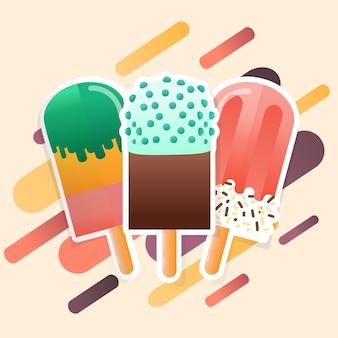 アイスクリームポップスコレクションベクトル
