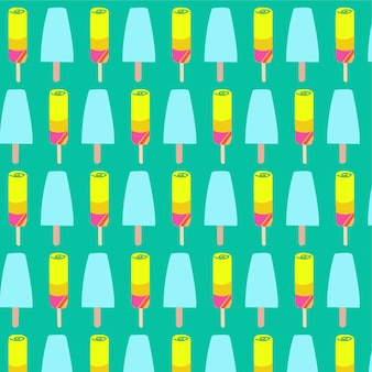 Ice cream and popsicles seamless pattern background