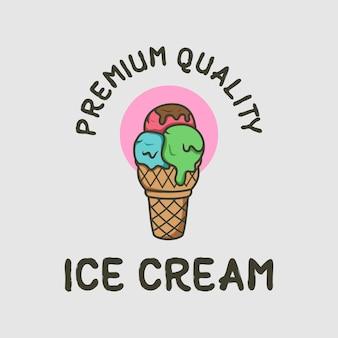 아이스크림 프리미엄 품질 로고 디자인