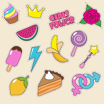 Ice cream, princess crown and candy lollipop stickers.  girl fashion patches