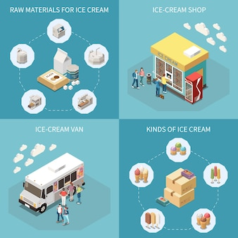 Ice cream production 2x2 design concept with raw materials kinds of finished product van and shop for retail isometric  illustration