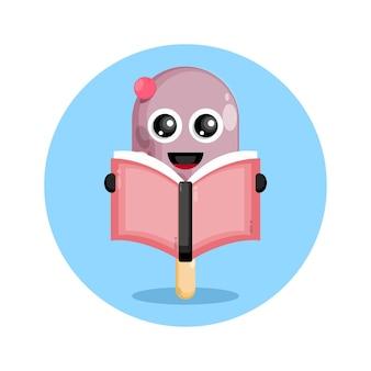 Ice cream reading book cute character logo