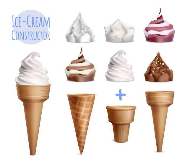 Ice cream realistic constructor set of various toppings with sugar cones of different shape and text illustration