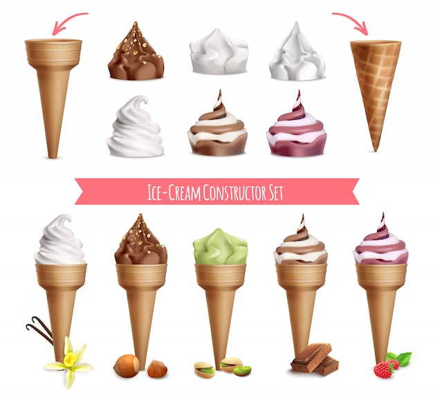 Ice cream realistic constructor set with isolated images of sugar cones and topping with editable text illustration