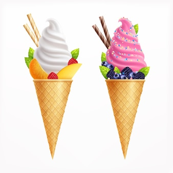 Ice cream realistic set of two waffle cones of vanilla and fruit taste decorated with strawberries blueberries blackberries orange slices illustration