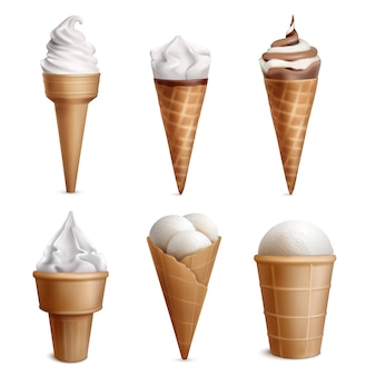 Ice cream realistic set with six isolated icecream in wafer cups of different shape with topping illustration